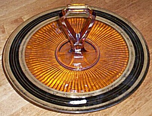 Art Deco Amber Glass Serving Tray (Image1)
