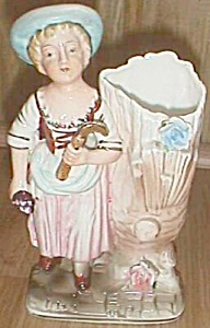 Porcelain Figural Bud Vase Lady by a Tree (Image1)