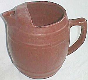 Antique Pottery Pitcher Barrel Ice Lip (Image1)
