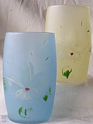 2 Hand Painted Satin Glass Tumblers White Flowers