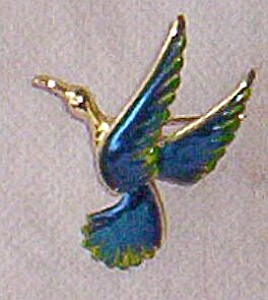 Lovely Dark Blue Enameled Bird Pin marked GERRY�s (Image1)