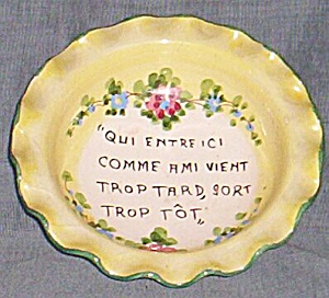 "Vintage Art Pottery Bowl Italy ""Qui Entreic..."" (Image1)"