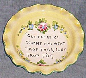 "Vintage Art Pottery Bowl Italy ""Qui Entreic..."" (Image1)"