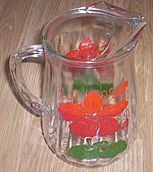 Vintage Pitcher Fired on Hibiscus Flower (Image1)