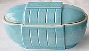 Blue Art Deco Covered Dish