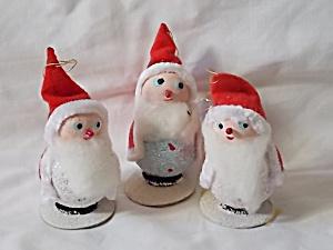 3 Vintage Santa Ornaments Japan (Image1)