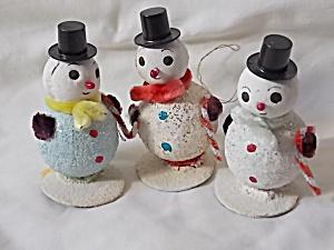 3 Vintage Snowman Ornaments Japan (Image1)