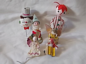 Mixed Lot Of 6 Unique Vintage Christmas Ornaments