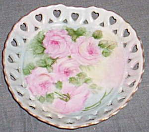 Heart Dish Hand Painted Rose Signed G Pattsmith