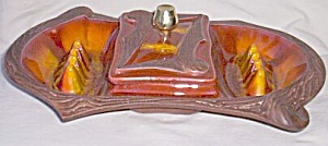 Vintage Console Ashtray With Center Cigarette Holder