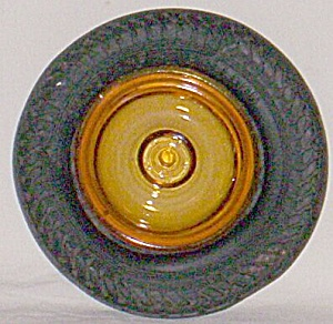 Allstate Balloon Tire Amber Glass Center Ashtray