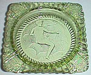 Imperial Glass Ashtray Verde Green Zodiac Sign