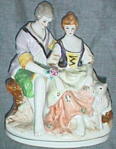 Hand Painted Porcelain Man & Woman Courting Couple (Image1)