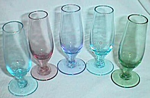 5 Tiny Glass Sherry Stems Rainbow Colors (Image1)