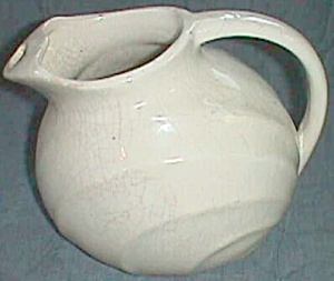 Vintage Pottery Ball Pitcher Ice Lip Ribs