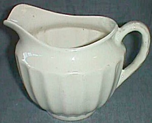 Antique Cream Milk Jug Pitcher USA Vertical Rib (Image1)