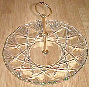 Large Crystal Serving Tray Center Handle Star Fan (Image1)
