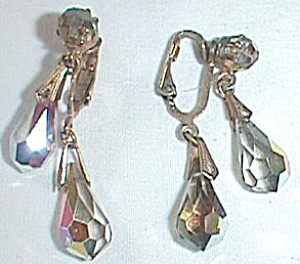 Vintage Clip-on Dangle Earrings Tear Drop Carnival Stone Free Shipping (Image1)