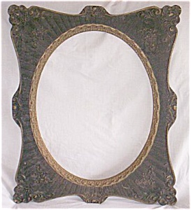 Antique Gesso And Wood Picture Frame Oval Center
