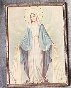 Antique Our Lady Sacred Heart Print Original Frame (Image1)