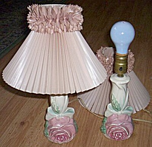Pair 60's Pottery Rose Boudoir Lamps
