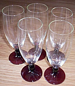 5 Vintage Champagne Amethyst Stems