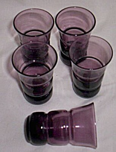 5 Vintage Amethyst Colored Cordials