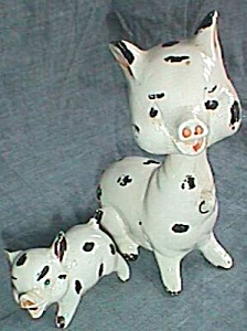 Bobble Head Chained Pig Family Pottery