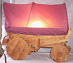 Vintage Hand Made Covered Wagon Light