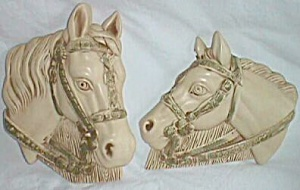 1964 Miller Art Chalkware Horse Head Wall Plaques 2 (Image1)