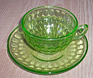 Federal Cup Saucer Thumbprint Green (Image1)