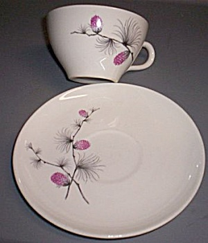 Canonsburg Pink Pinecone Cup And Saucer