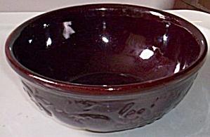 Chocolate Brown Yellow Ware Mixing Bowl Fruits (Image1)
