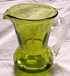 Green & Crystal Art Glass Creamer
