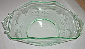 Green Lancaster Glass Folded Bowl