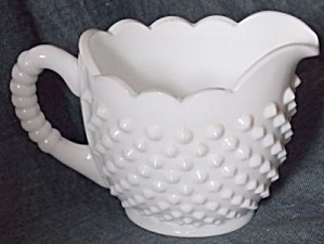 Fenton Milk Glass Hobnail Oval Creamer