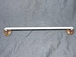 Vintage White Glass Towel Rod With Ends