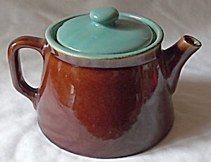 Heavy Stoneware Teapot Green Lid Brown Base (Image1)
