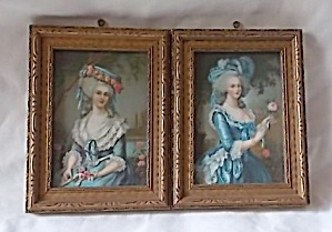 Pair Of Miniature Prints Period Lady's