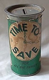 "Vintage Metal ""time To Save"" Bank"