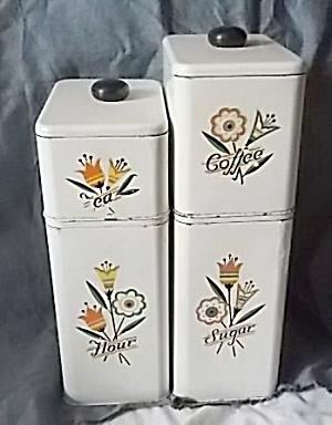 Vintage Tin Stacking Canister Set 4 pc Floral (Image1)