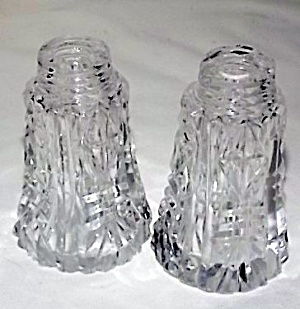 Pair Antique Cut Glass Shakers