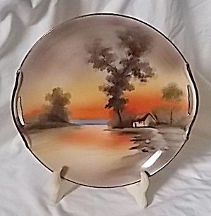 Early Noritake Serving Plate Water Scene Orange-browns