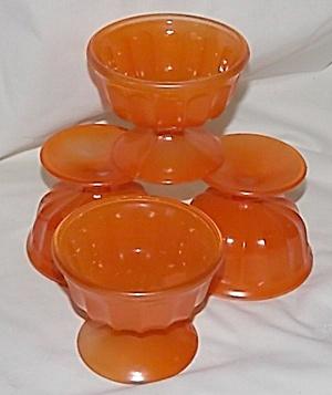 4 Vintage Orange Sherbet Cups Wide Panel (Image1)
