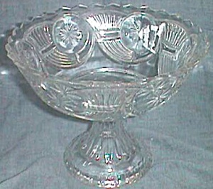 Antique Compote Horn Of Plenty Frosted Circle Clear