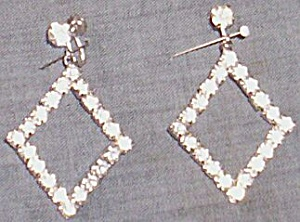 intage Rhinestone Dangle Earrings Large Diamond Shape (Image1)