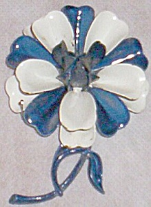 Large Blue & White Flower Enameled Brooch Marked (Image1)