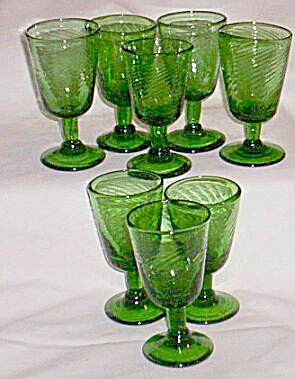8 Hand Blown Stems In Green
