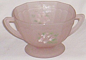 "Hocking Glass Pink Satin Open Sugar Mayfair ""open Rose"""