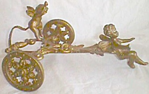 Antique Gold Gilt Chariot W/ Cherubs Salt Holder